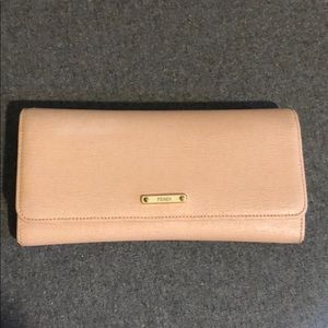 Fendi continental wallet-nude pink